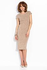 beżowa sukienka dopasowana ołówkowa