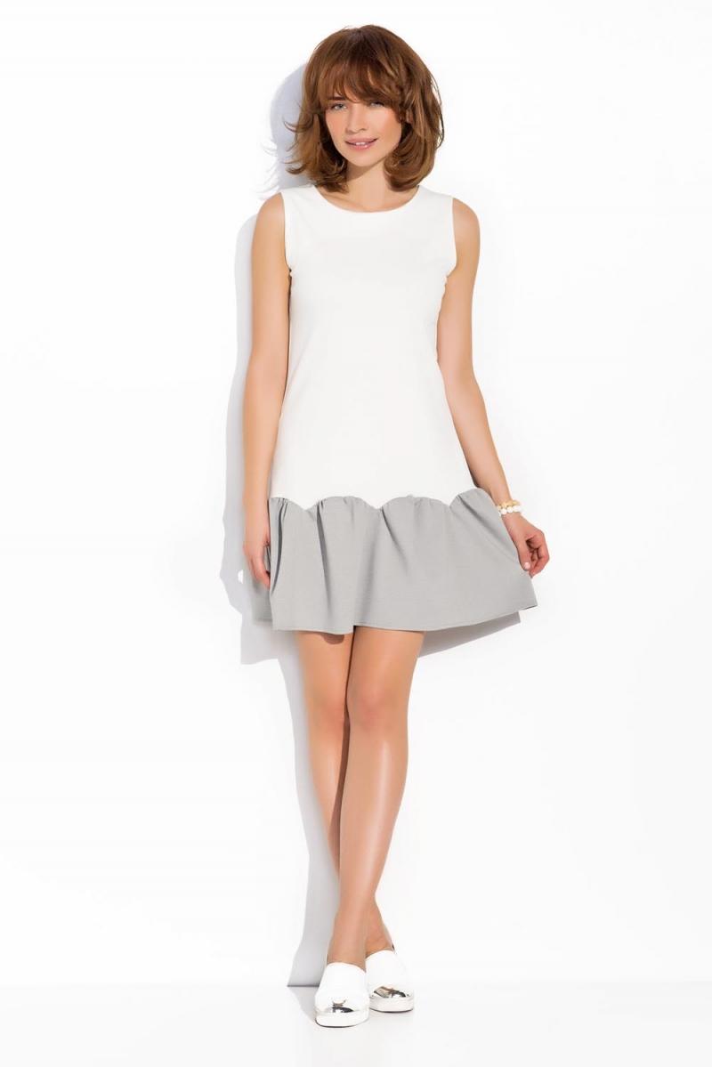 biało szara sukienka z falbaną