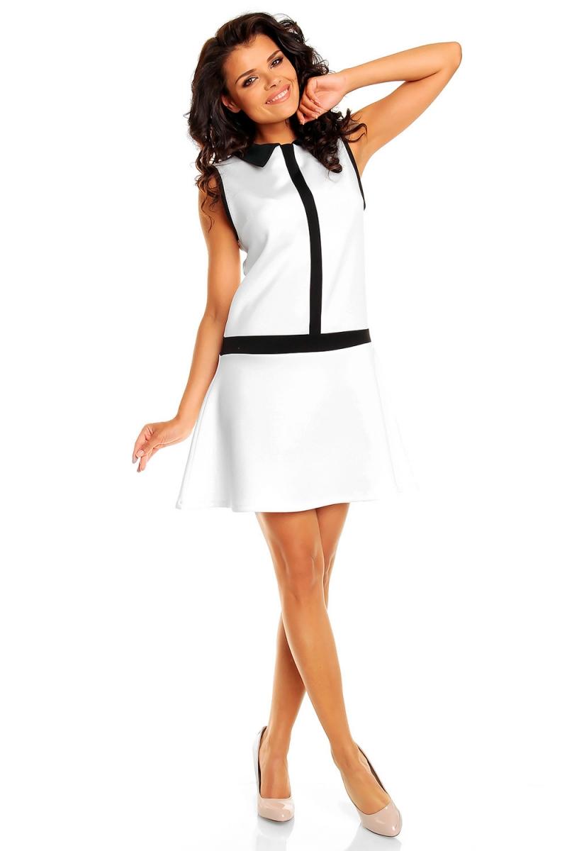 biała sukienka uczennica z czarną lamówką