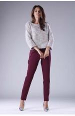 Jasnoróżowy Krótki Sweter z Rozszerzanym Rękawem