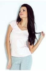 Bawełniana Koszulka w Serek z Kokardką - Różowa