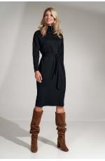 Sukienka z Golfem i Paskiem - Czarna