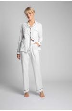 Długie Spodnie Piżamowe z Lamówkami - Ecru