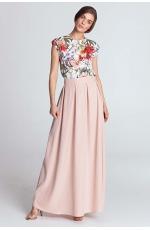 Różowa Rozkloszowana Spódnica Maxi