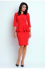 Czerwona Wizytowa Sukienka Midi z Baskinką