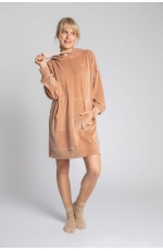 Welurowa Sukienka w Sportowym Wydaniu - Beżowa