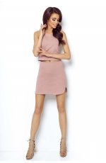 Różowa Asymetryczna Mini Spódnica na Gumie
