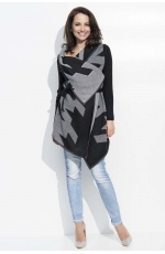 Czarno Szary Sweter Narzutka z Graficznym Wzorem