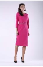 Ciemno Różowa Elegancka Ołówkowa Sukienka z Dodatkami w Panterkę