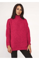 Malinowy Ciepły Oversizowy Sweter z Golfem