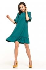 Zielona Luźna Letnia Sukienka Wykończona Falbankami