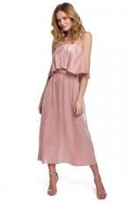 Sukienka Hiszpanka z Metalicznej Plisowanej Tkaniny - Różowa