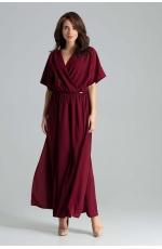 Bordowa Długa Rozkloszowana Sukienka z Kopertowym Dekoltem