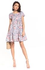 Wzorzysta Mini Sukienka z Falbanką - Róże na Szarym
