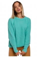 Klasyczny Luźny Sweter w Prążek - Seledynowy