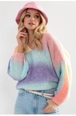 Kolorowy Sweterek z Dekoltem V - Elnido
