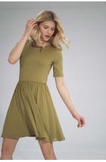Krótka Wiskozowa Sukienka na Lato - Zielona