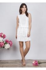 Mini Biała Sukienka z Koronkowym Wykończeniem
