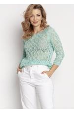 Krótki Sweterek z Błyszczącą Nitką - Miętowy