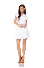 Biały Uroczy Komplet Bluzka + Krótka Spódnica z Falbankami