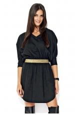 Czarna Asymetryczna Sukienka z Błyszczącą Gumą w Talii