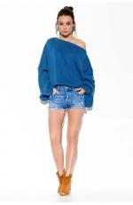 Jeansowy Sweter Oversize z Szerokim Dekoltem
