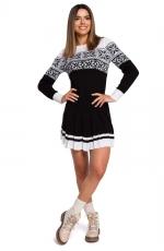 Czarna Świąteczna Sukienka Swetrowa z Obniżoną Talią