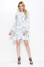 Biała Sukienka Trapezowa w Kwiaty z Bufiastym Rękawem