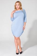 Niebieska Dzianinowa Sukienka z Lejącym Golfem Plus Size