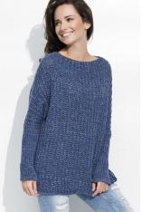 Jeansowy Cieplutki Luźny Sweter z Angielskim Ściegiem