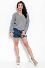 Luźny Sweter z Ozdobnym Sznurkiem - Ciemnoszary