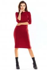 Bordowa Ołówkowa Sukienka Midi z Prążkowanej Dzianiny