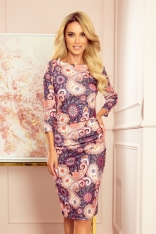 Sukienka Dopasowana Swetrowa z Marszczeniami w Kolorowy Wzór