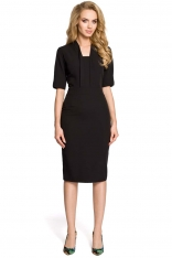 Czarna Sukienka Ołówkowa Midi z Efektownym Dekoltem