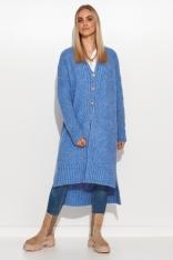 Zapinany na Guziki Sweter z Dłuższym Tyłem - Niebieski