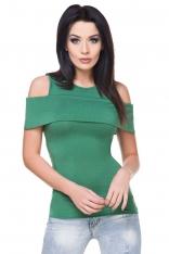 Zielona Dopasowana Bluzka z Wyciętymi Ramionami