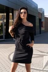 Czarna Dzianinowa Sukienka z Metalowymi Napkami