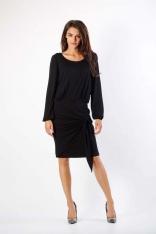 Czarna Dzianinowa Sukienka z Ozdobnym Wiązaniem