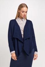 Granatowy Elegancki Sweter Narzutka z Wolnymi Połami