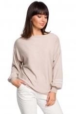 Beżowy Nietoperzowy Sweter z Bufiastym Rękawem z Lampasami