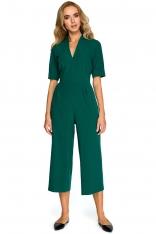 Zielony Elegancki Kombinezon ze Spodniami Typu Culotte
