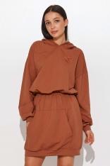 Sukienka w Formie Bluzy ze Ściagaczem w Talii - Karmelowa