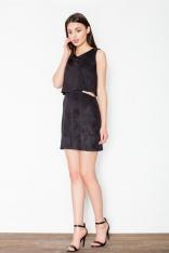 Czarna Niepowtarzalna Zamszowa Mini Sukienka