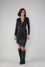 Czarna Sukienka z Asymetrycznym Dołem z Eko-skóry