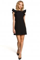 Czarna Mini Sukienka Tuba z Falbankami na Ramionach