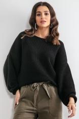 Luźny Sweter z Szerokimi Rękawami - Czarny