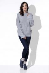 Szary Sweter w Prążek z Szerokimi Rękawami