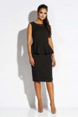 Czarna Sukienka Ołówkowa bez Rękawów z Baskinką