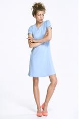 Urocza Błękitna Sukienka z Kokardką na Plecach