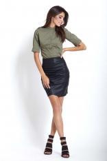 Czarna Kopertowa Mini Spódnica z Eko-skóry z Drapowaniem